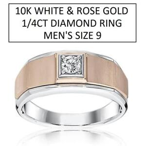 NEW* 10K 1/4CT DIAMOND RING SIZE 9 228791538 MEN'S SOLITAIRE WHITE AND ROSE GOLD JEWELLERY JEWELRY