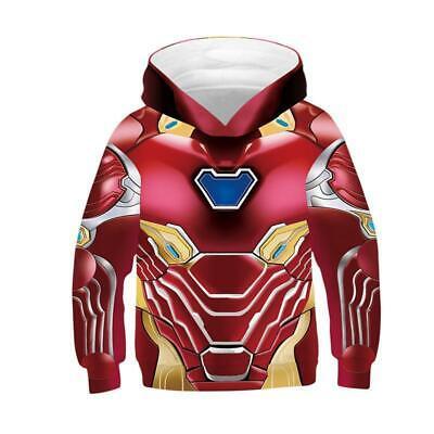 Kids Avengers Endgame Iron Man Tony Stark Hoodie Superhero Boy Casual - Kids Avengers