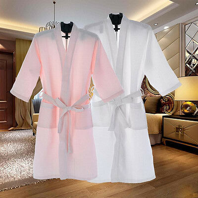 - Men Women Cotton Waffle Bath Robe Suck Sweat Kimono Bathrobe Summer Nightgowns