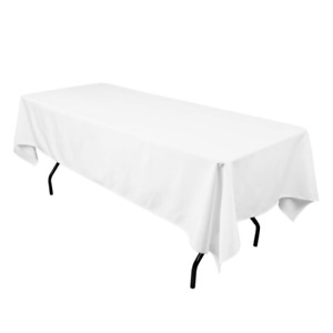 "10 Table Cloths, Rectangular, 60"" x 102"", White, Polyester"