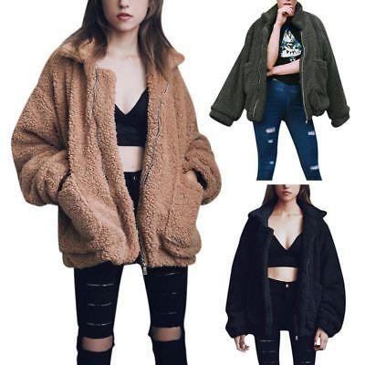 Women Winter Warm Teddy Bear Fluffy Coat Fleece Fur Jacket Zip Up Outerwear Tops ()