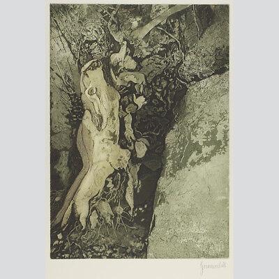 Herbert Grunwaldt: Baum in Dondalen. Farbradierung.