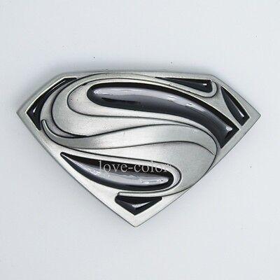 New Western DC Cowboy Black Silver Superman Superhero Mens Metal Belt Buckle