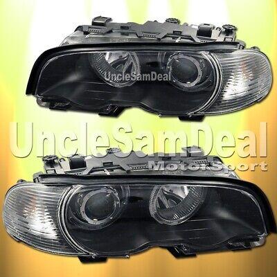 00-03 BMW E46 2 DOOR COUPE BLACK HALO RIMS CLEAR PROJECTOR HEADLIGHTS CORNER SET Bmw E46 Halo Projector Headlights