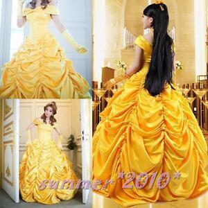 Adulte princesse belle et la b te halloween costume cosplay fantaisie robe dor e - Robe la belle et la bete adulte ...