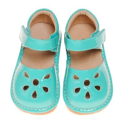 CLOSEOUT SALE! Girl's Leather Toddler Turquoise Petal Patent Squeaky Shoes 1-3