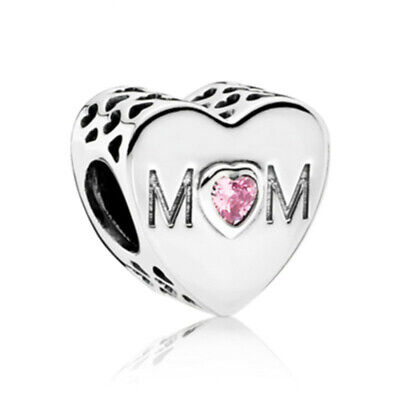 Beautiful  Pandora MOM Charm 100% S925 Sterling Silver Mother's Day with pouch