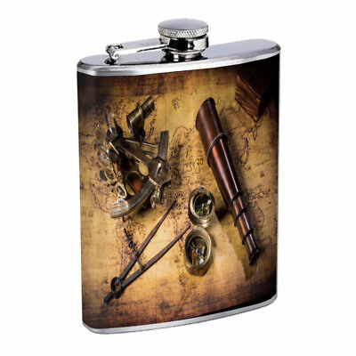 Pirate Treasure D4 Flask 8oz Stainless Steel Hip Drinking - Pirate Flask