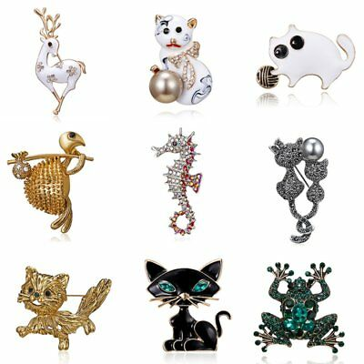 Fashion Crystal Dog Owl Seahorse Deer Animal Brooch Pin Women Costume - Deer Dog Costume