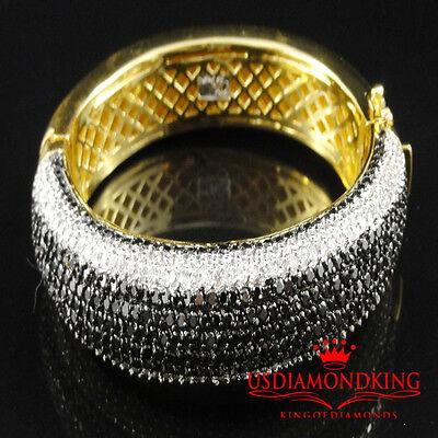 MEN'S 14K YELLOW GOLD FINISH BLACK & WHITE LAB DIAMOND CUFF BANGLE BRACELET NEW