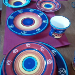 Cup plate bowl hand painted 16pc dinnerware $45