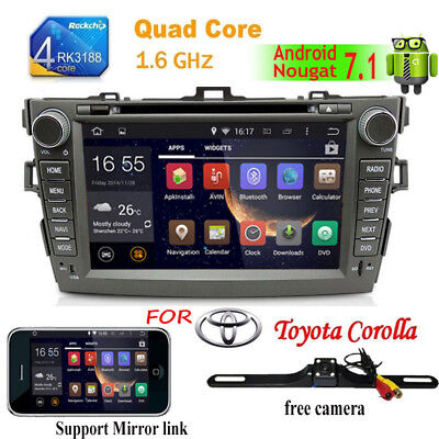 8'' Android7.1 Car Stereo DVD Player Radio GPS For Toyota Corolla 2010 2011 2012