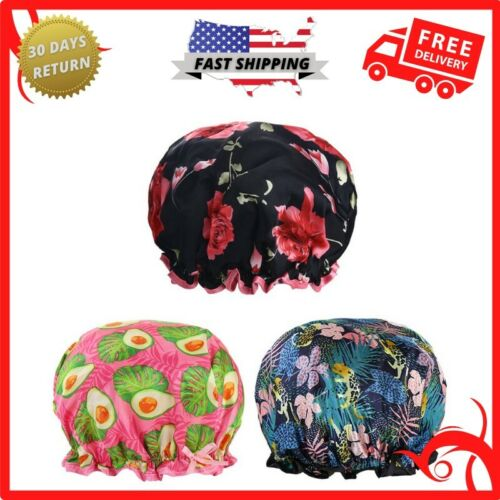 Shower Hat For Women Reusable Bath Hair Cap With Waterproof Double Layers 3 Pack