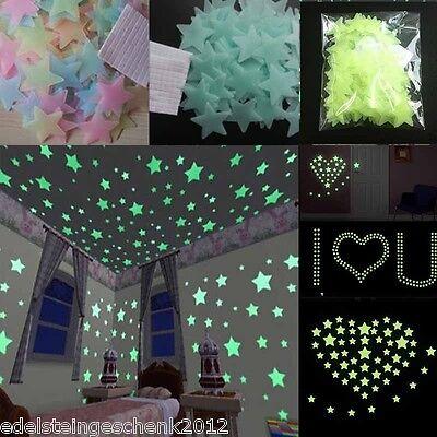 100pcs 3D Glow in the Dark Sterne Leuchtsterne Sternenhimmel Wandsticker DIY (Glow In The Dark Wands)