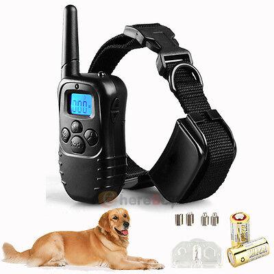 1000 Yard Waterproof LCD 100LV Level Shock Vibra Remote Pet Dog Training Collar