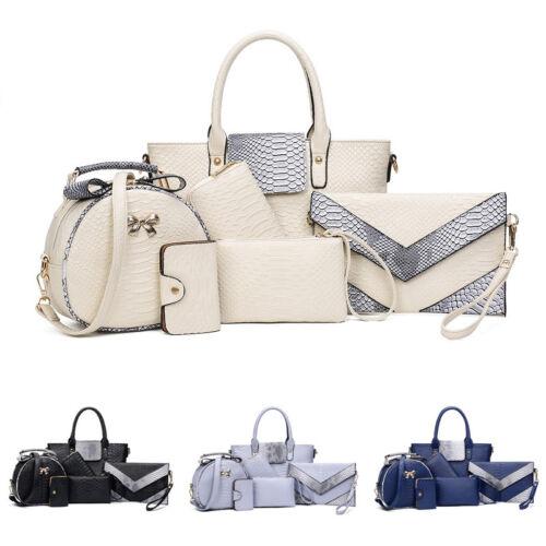 6STK / set borsa per Donna a tracolla portamonete ZAINO SCUOLA elegante 4 COLORI
