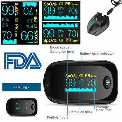Oled Fingertip Finger Pulse Oximeter Blood Oxygen Meter Heart Rate Monitor Fda
