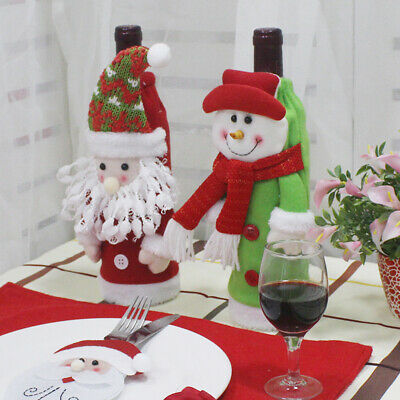 2pcs Santa Claus Snowman Wine Bottle Cover Bag Christmas Gift Table Dinner Decor