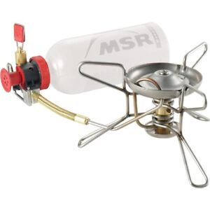 MSR camping white gas stove and fuel bottles