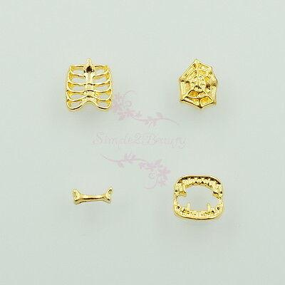 40pcs Mix 4 Styles Halloween Nail Art Alloy Charms Jewelry 3D DIY Design Decor (Nail Art Design Halloween)