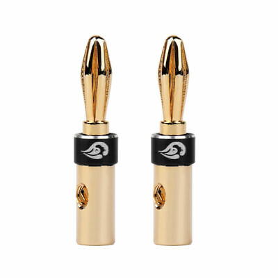 2Stk Solderless Banana Plug Gold-plated Speaker Kabel Audio Connector Black
