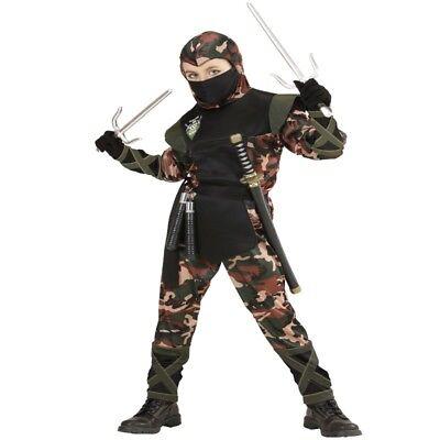 Ninja Kämpfer Kostüm Kinder Camouflage Look Anzug mit Sturmhaube 128,140,158