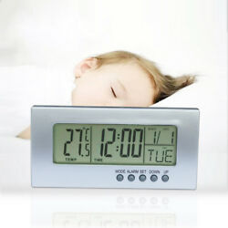 Bedside LCD Smart Digital Travel Alarm Clock with Thermometer Calendar Timer SZ