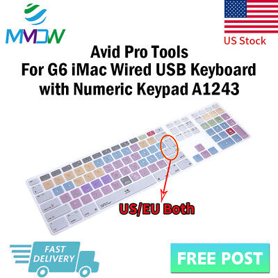 Avid Pro Tools Hotkey Silicone Keyboard Cover for iMac G6 Numeric Keypad A1243
