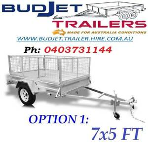 TRAILER HIRE RENTAL BRISBANE QLD 7 x 5 FT CAGED FROM $55 PER/DAY