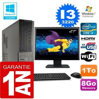 PC DELL 3010 DT Core I3-3220 Ram 8Go Disque 1 To Wifi W7 Ecran 27