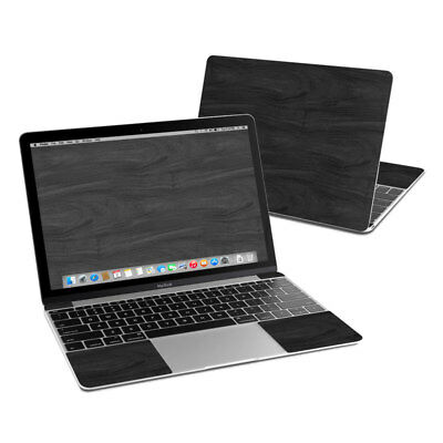 apple macbook 12in skin black woodgrain sticker