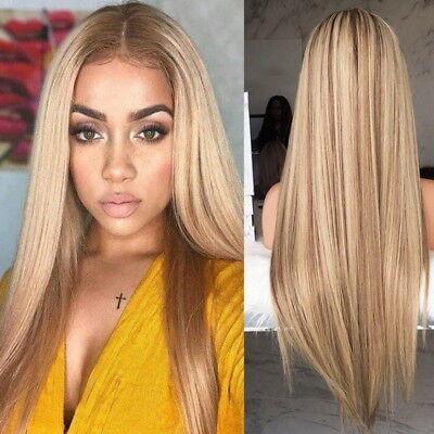 Mode Damen Gerade Blonde Langhaarperücke Glatt Echthaar Perücken - Blonde Mod Perücke