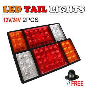 2x 12/24V 36 LED Tail Lights Lamp Rear Truck Trailer Caravan Reverse Indicator