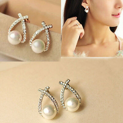 1 Pair Women Lady Elegant Crystal Rhinestone Pearl Ear Stud Earrings Jewelry New