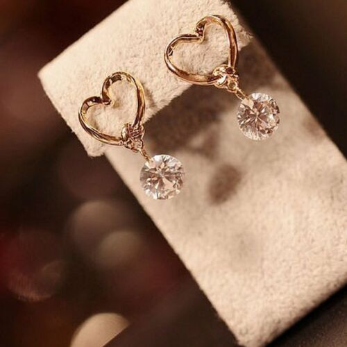 Jewellery - Fashion Rhinestone Heart Earrings Stud Dangle Crystal Wedding Party Women Gift