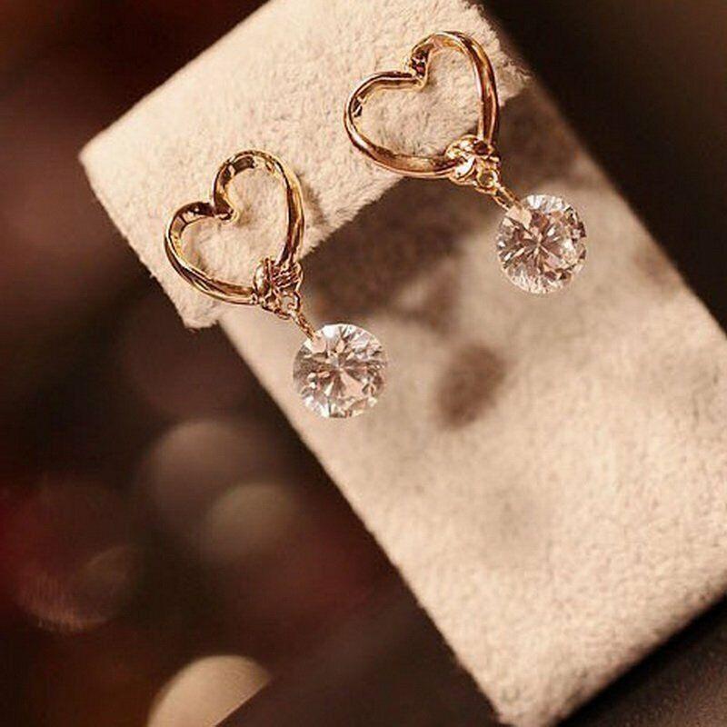 Fashion Rhinestone Heart Earrings Stud Dangle Crystal Wedding Party Women Gift
