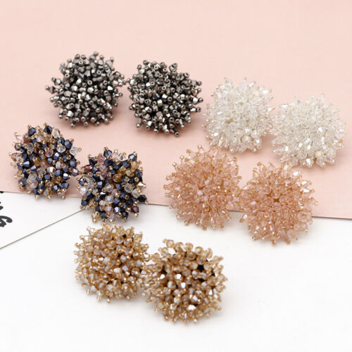 Elegant Women Handmade Cluster Crystal Beads Dangle Statement Earrings Jewelry