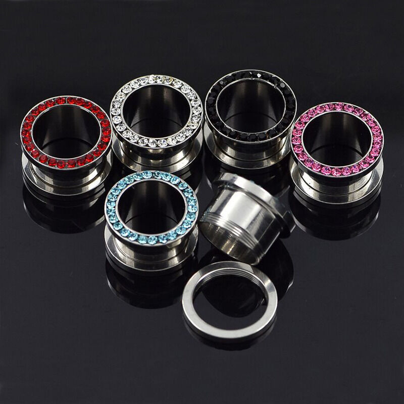 ALL 4 PAIR Gem Rimmed Screw Fit Tunnels Ear Plugs Gauges Black,Pink,Blue,Clear