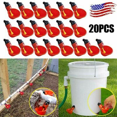 20 Pack Poultry Water Drinking Cups Chicken Hen Quail Plastic Automatic Drinker