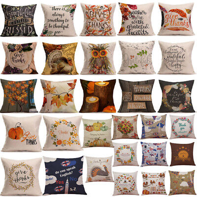 Happy Fall Thanksgiving Day Soft Linen Pillow Case Cushion Cover Home Decor X](Thanksgiving Home Decorations)