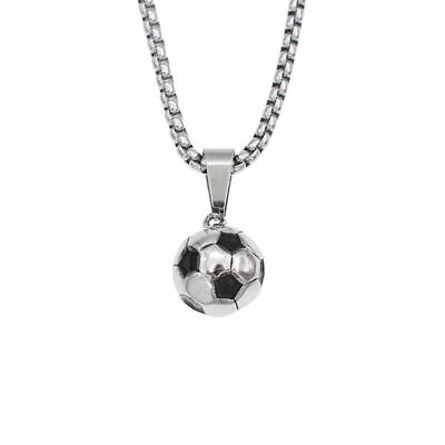 3D Football Soccer Pendant Necklace Stainless Steel Unisex Sports Jewelry Silver