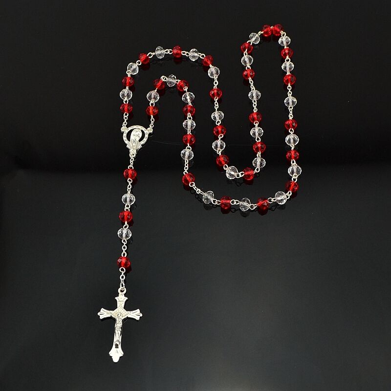 Catholic Red And White Crystal Beads Silver Rosary Necklace Jewelry