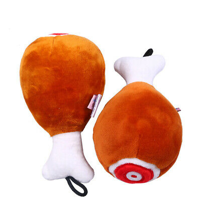 Pet Dog Cat Puppy Funny Chew Plush Chicken-Leg Squeaker Drumstick Play Sound Toy