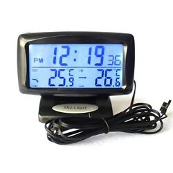 Multi-function Car Dual Digital Thermometer Temperature Time Display Alarm Clock