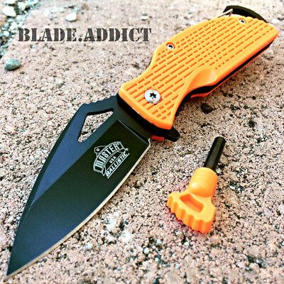ASSISTED OPEN TACTICAL POCKET KNIFE + Fire Starter + Carabiner Camping Spring OR