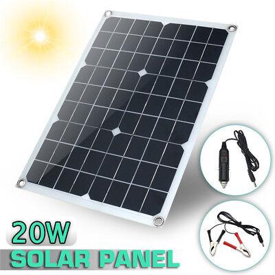 20W 12V/5V DC Waterproof Battery Solar Panel USB For Phone Lighting Car Charger