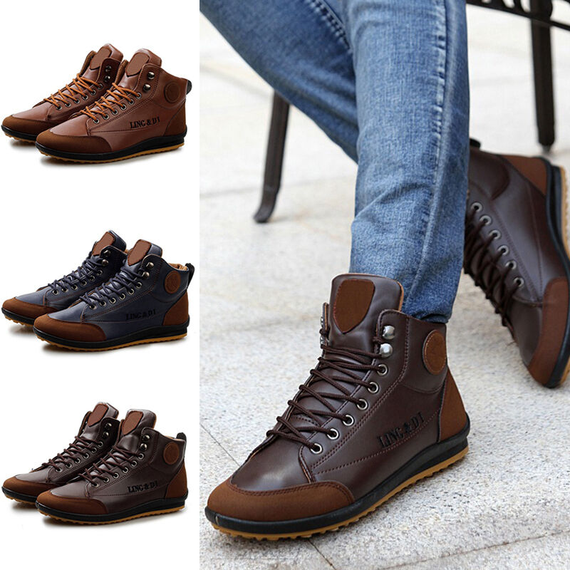 Winter Men's Warm Casual Shoes Faux Leather Waterproof Light