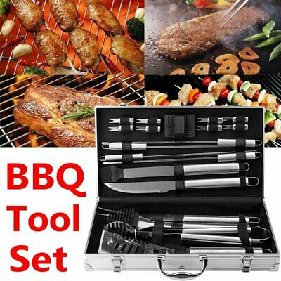19X BBQ Tool Set Stainless Steel Barbecue Grill Utensils Kit Accessories + Case