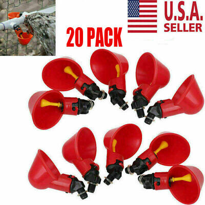 20pc Poultry Water Drinking Cups- Chicken Hen Plastic Automatic Drinker Us New