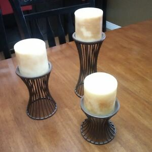 set of 3 candles and holders